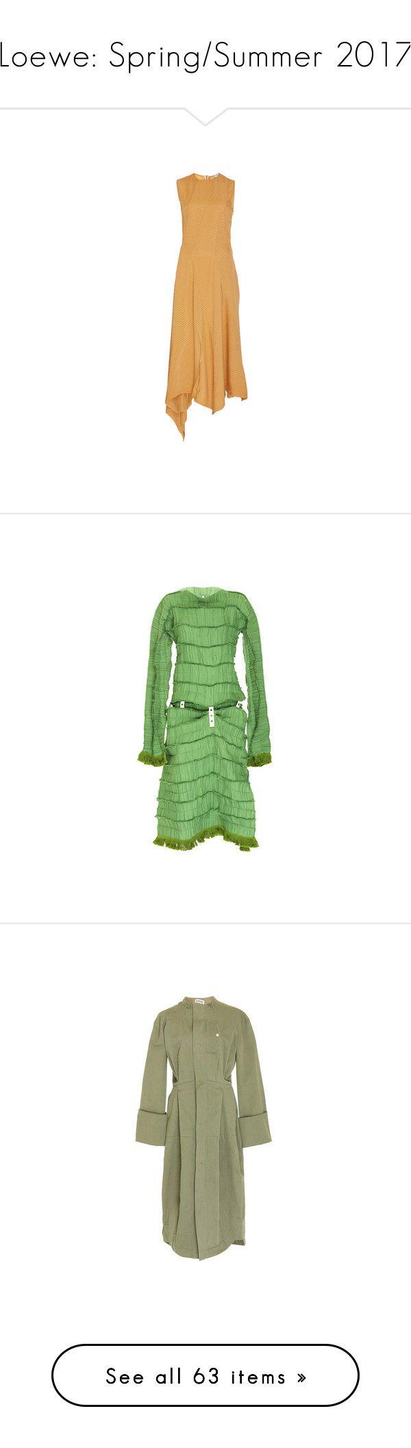 """Loewe: Spring/Summer 2017"" by livnd ❤ liked on Polyvore featuring loewe, springsummer2017, livndfashion, livndloewe, dresses, beige dress, jewel neckline dress, a line dress, boat neck sheath dress and green boat neck dress"