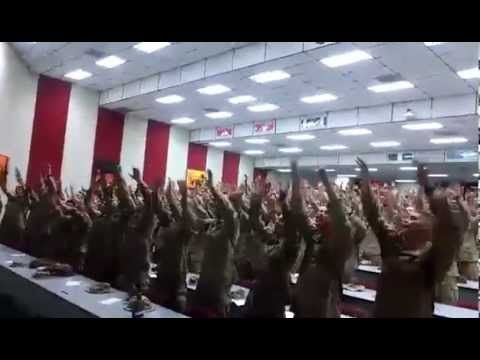 Crowd overflowing with Marine recruits goes wild while singing Christian worship song   Rare