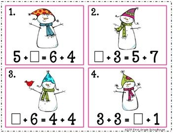 Center activity included in Winter Math Centers First Grade by First Grade Schoolhouse. $ Packet of 8  winter themed MATH CENTERS.