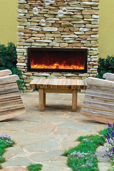 Modern electric fireplace and Outdoor fireplaces