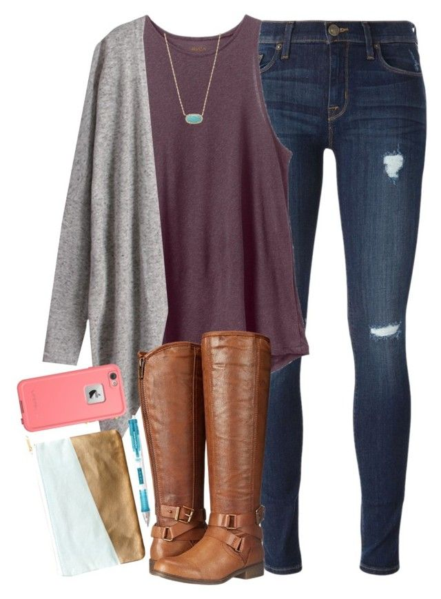 """ootd:((((("" by elizabethannee ❤ liked on Polyvore featuring Hudson, RVCA, Kendra Scott, Madden Girl, Paper Mate, Nate Berkus and LifeProof"