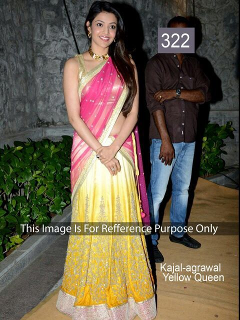 Kajal Aggarwal In Beautiful Yellow And Pink Embroidery Half Saree