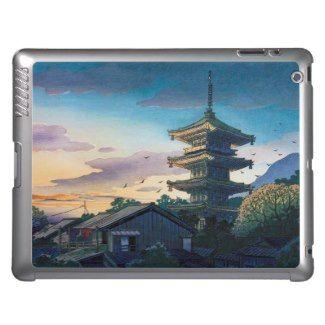 Kyoraku attractions Nomura Yasaka pagoda sunshine iPad Covers  #Kyoraku #Yasaka #pagoda #shrine #sunshine #kyoto #scenery #hanga #gift #accessory #customizable #Japan #japanese #oriental #village