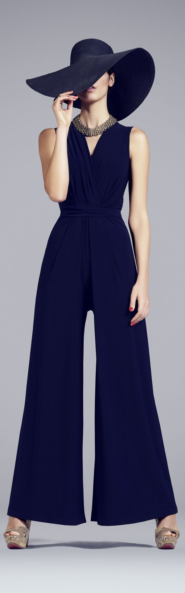 Inspired high-street fashion: Phase Eight - Women's jumpsuit with culotte-style trousers, loose and comfortable. Sporting a navy blue in-keeping with elements of the French Riviera