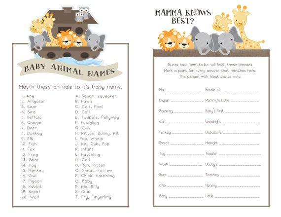 Noah's Ark Baby Shower 8-Game Pack Noah's Ark By