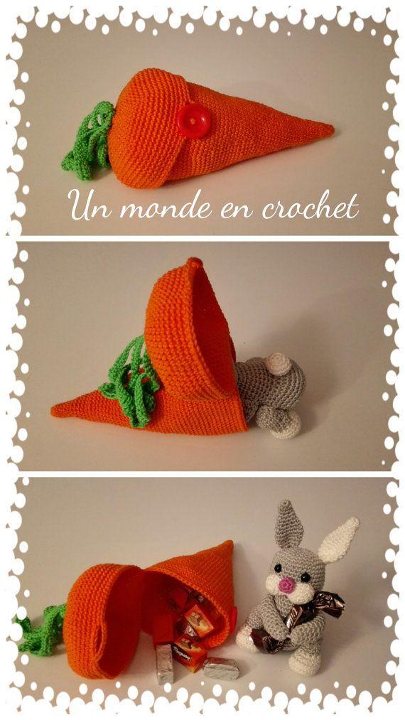 Petit lapin dans sa carotte par Unmondeencrochet sur Etsy