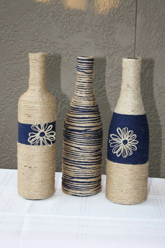 Set of 3 Custom Wrapped Wine Bottles Jute by DragonflyDaisies