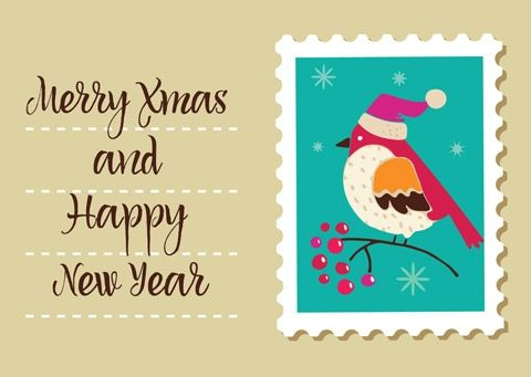 Новогодняя открытка с птичкой в марке — Сервис Поштар
