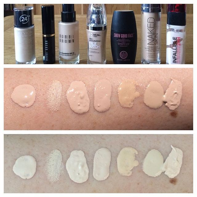 Pale foundation swatches! (All in order under their corresponding bottles)Middle photo is in sunlight. Bottom photo is indoors.