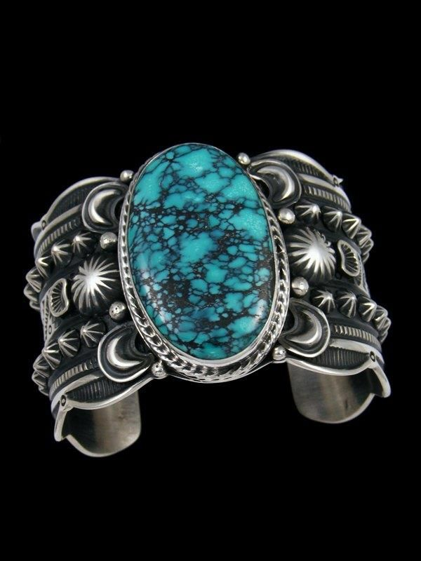Native American Sterling Silver Natural Cloud Mountain Turquoise Cuff Bracelet