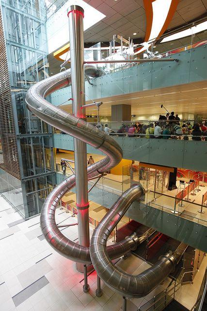 slide at a singapore airport - fun!