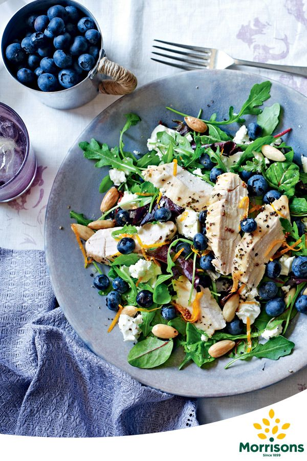 Blueberries' unique flavour give this chicken salad an exciting burst of flavour. This salad also works well with a blue cheese such as Stilton or Roquefort. Try this recipe for a Blue Monday lift :)