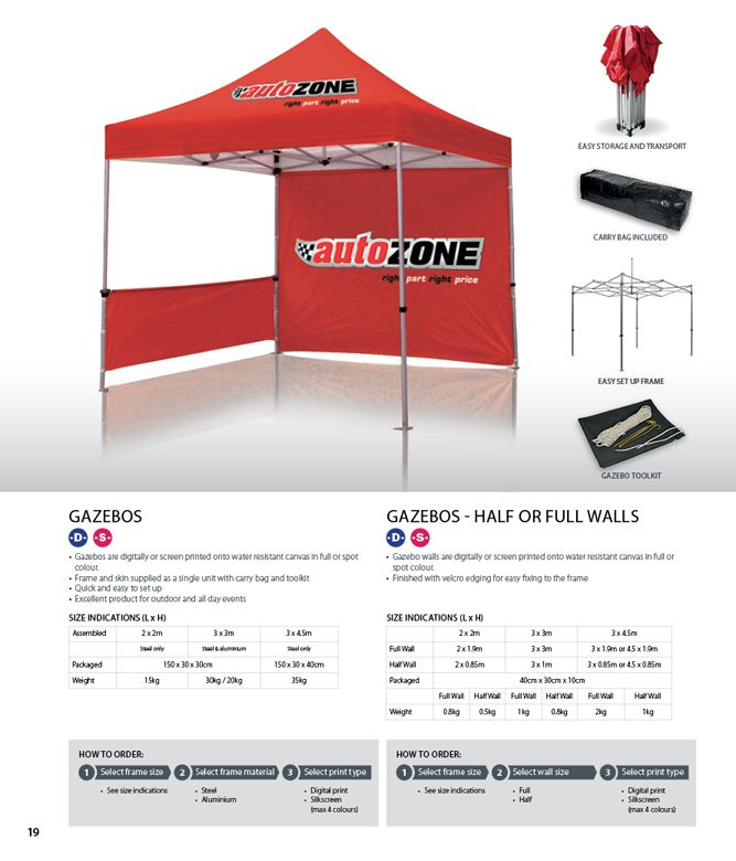 Skin only option available • Gazebos are digitally or screen printed onto water resistant canvas in full or spot colour • Frame and skin supplied as a single unit with carry bag and toolkit • Quick and easy to set up • Excellent product for outdoor and golf day events