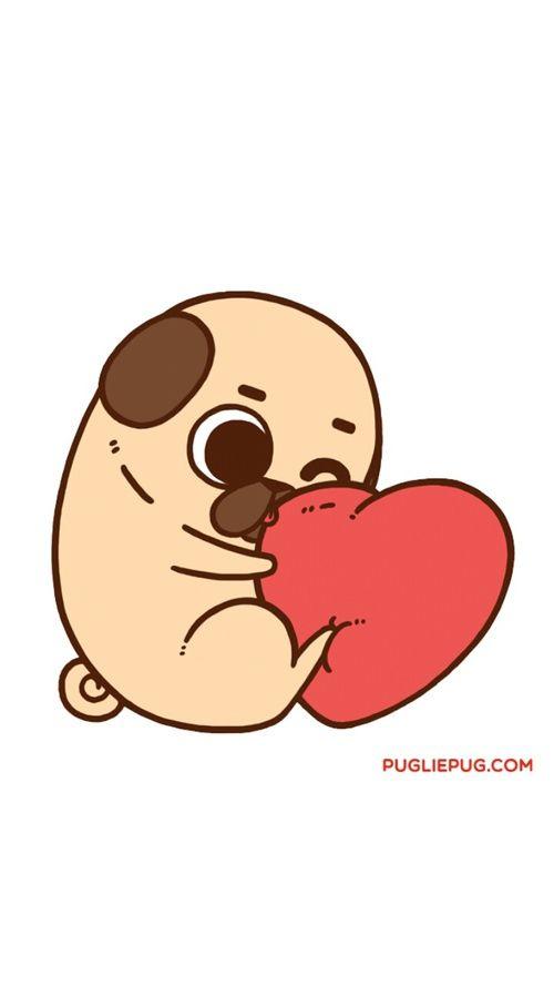 Cute Baby Pugs Cartoon Color