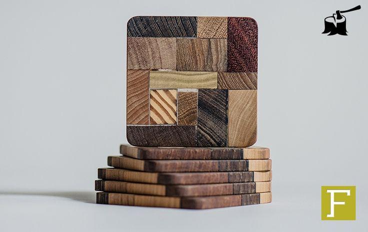 6 houten design onderzetters, gemaakt van het resthout van Fijn Timmerwerk. 6 wooden coasters made from scrapwood of our canpentry. Kado, present, cadeau, gift, accessoire, accessorie