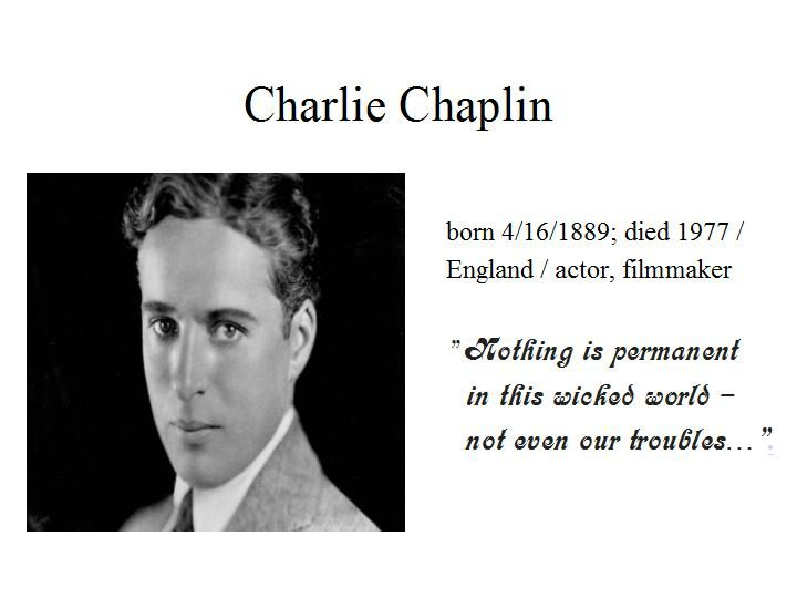 "April the 16th...Charlie Chaplin rose to fame in the silent film era...most known is his screen persona ""The Tramp""...his career spanned more than 75 years...at age of 26 he was one of the highest paid people in the world..."