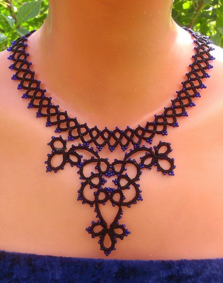 Halskette, exclusive Handarbeitskunst, Occhi/frivolite, unikat, neu,   eBay