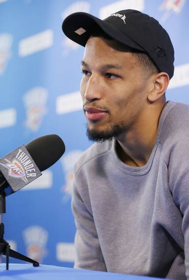 Andre Roberson speaks to the media during exit interviews for the Oklahoma City Thunder at the Integris Thunder Development Center in Oklahoma City, Wednesday, April 26, 2017. Photo by Nate Billings, The Oklahoman