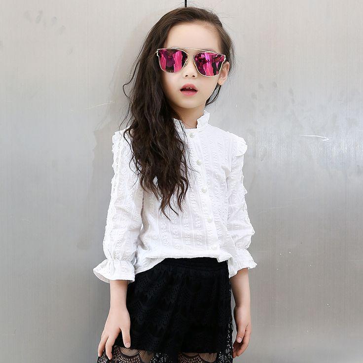 2016 Adolescente Little Adolescente Niñas Blusas Y Camisas Blusas de Manga Larga Blanca de la Escuela Las Niñas Ropa de Los Cabritos Tops Ropa Niños(China (Mainland))