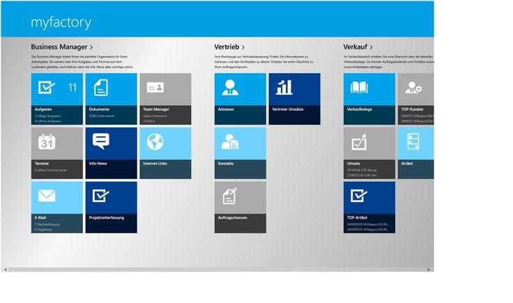 Win8-App für den direkten Zugriff auf myfactory per Windows8-Tablet und Win8-PC's.