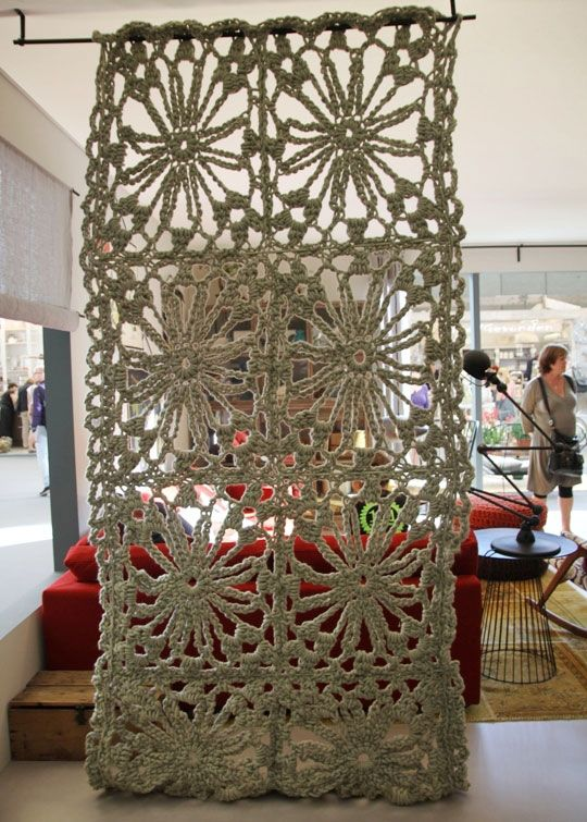 Crochet Room Divider; such a neat idea! This would work great with Hometown USA or Wool-Ease Thick & Quick