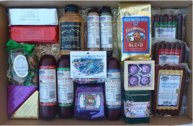 Bridger Variety Pack Gift Box. Enough for a large family or office.  A delicious assortment of sausage, snack stix, candy, cheese and drink mixes.  Made in Montana.