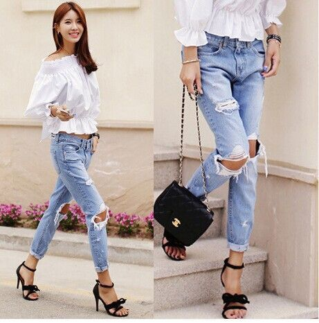 Cotton Ripped Jeans, Loose Low Waist Washed Vintage