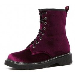 Burgundy Velvet Suede Platforms High Top Punk Rock Gothic Military Combat Boots Shoes