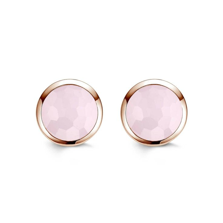 Ti Sento Silver and Rose Gold Plate Stud Earrings