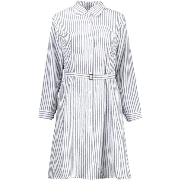 Blue And White 5xl Plus Size Belted Striped Shirt Dress (£12) ❤ liked on Polyvore featuring dresses, striped shirt dress, plus size striped dress, plus size belted dress, womens plus dresses and long shirt dress