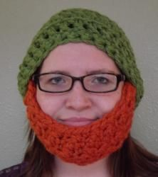 Crocheted Beard Hat Green With Ginger Beard, No Mustache