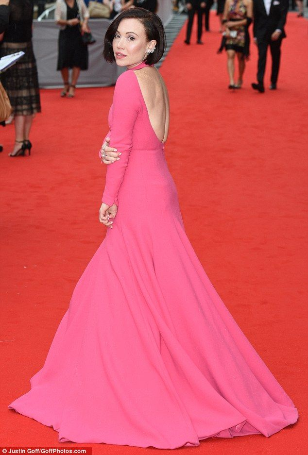 Showing some skin: Daisy Lewis, who plays Sarah Bunting in Series 4-5, wore a striking fuchsia backless number