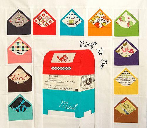 Pink Penguin - envelope blocks