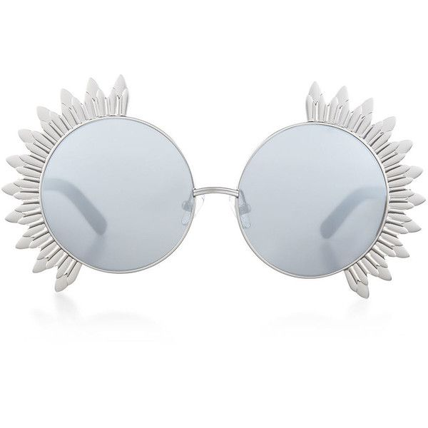 Linda Farrow Silver Petal Rim Round Sunglasses ($260) ❤ liked on Polyvore featuring accessories, eyewear, sunglasses, glasses, glass, round rim sunglasses, mirrored lens sunglasses, uv protection sunglasses, matte lens sunglasses and vintage sunglasses