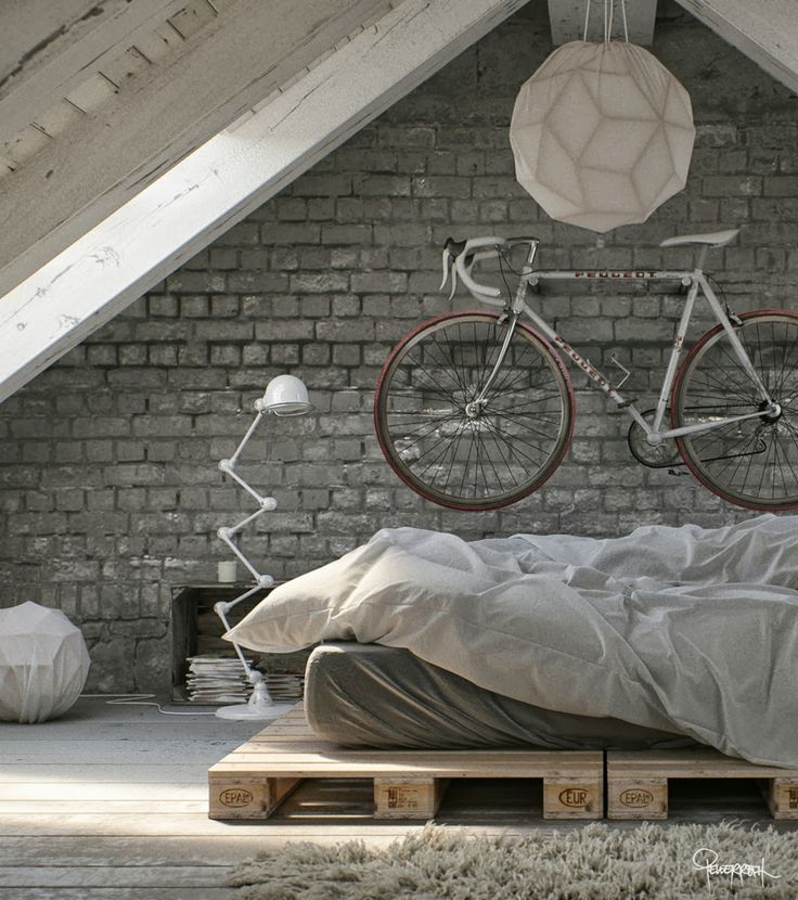 Brick wall, white-greyish tones, upcycled pallet bed, geometrical design lighting, decordemon #interiors