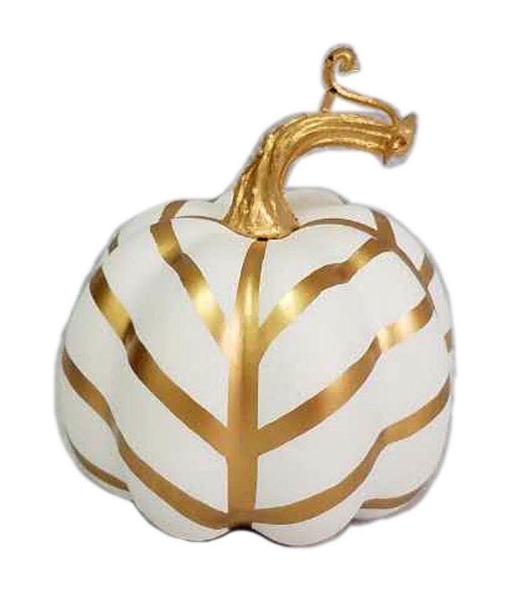 Pumpkin Boutique Halloween Extra Small Pumpkin - Gold Graphic Stripe