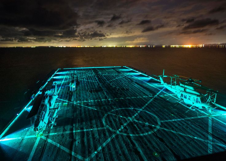 EAST CHINA SEA (March 13, 2015) Sailors participate in flight operations aboard the San Antonio-class amphibious transport dock ship USS Green Bay (LPD 20). Green Bay, part of the Bonhomme Richard Amphibious Ready Group, is conducting a certification exercise. (U.S. Navy photo by Mass Communication Specialist 3rd Class Edward Guttierrez III)