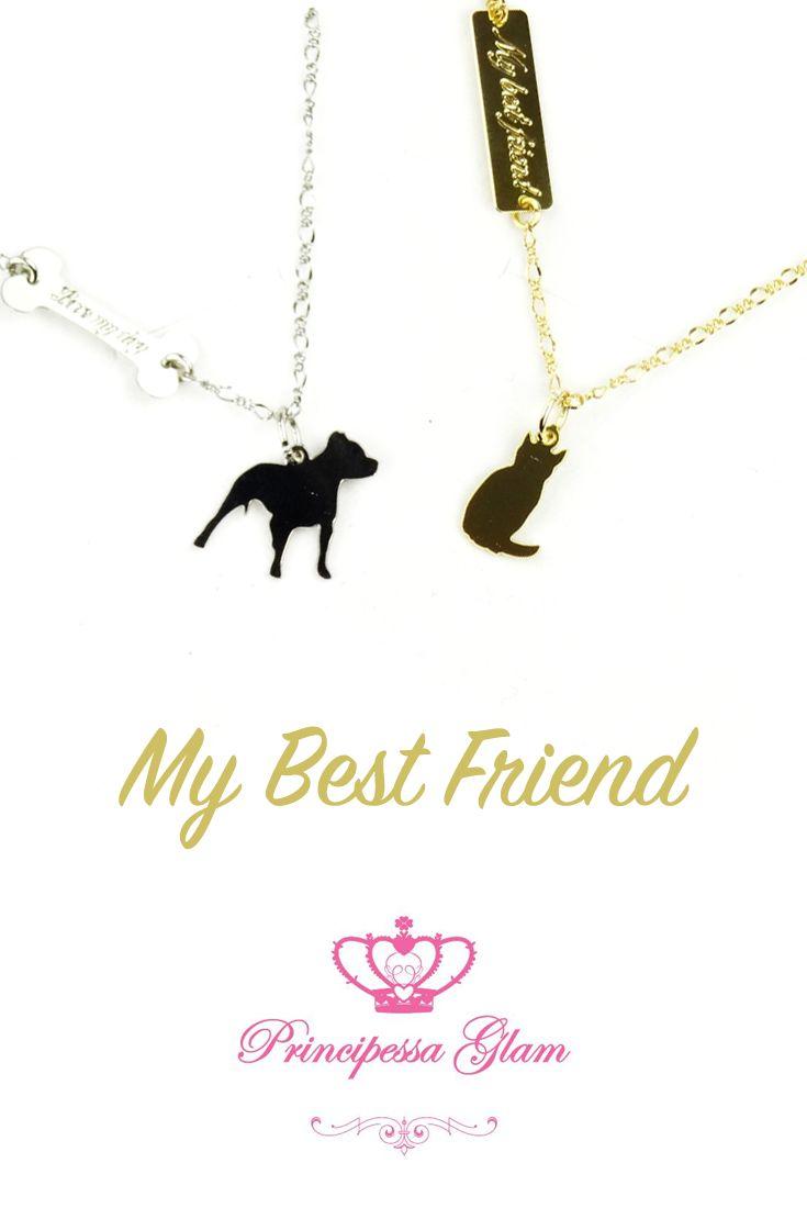 Catenina Bagno Argento con Bulldog + Catenina Bagno Oro Giallo con Gattino Acciambellato by Principessa Glam