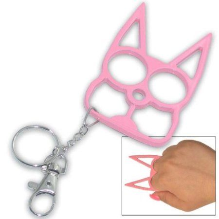 Amazon.com: Pink Metal Cat Personal Protection Self Defense Keychain Keyring: Everything Else