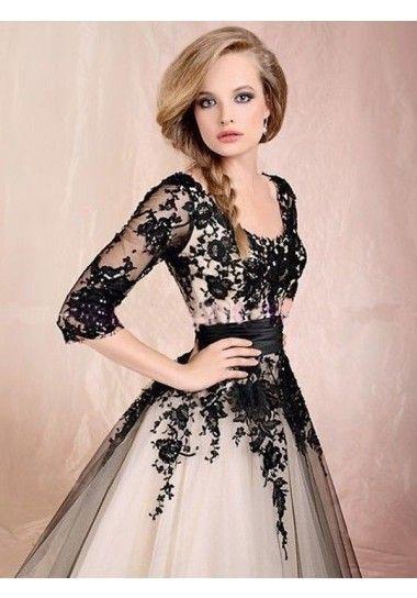Linia A Okrągły Tiul Aplikacje Sukienki studniówkowe/Suknie wieczorowe #SP1022