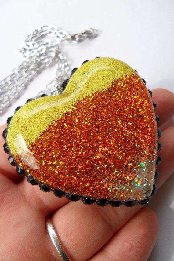 Candy Corn Inspired Resin Heart Glitter by StrangeWorksbyJRM, $10.00