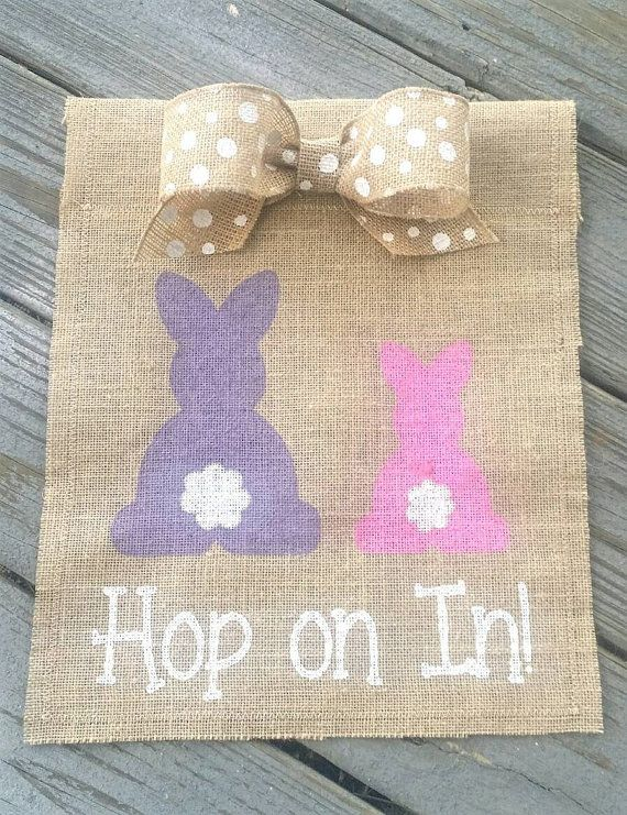 Hop on In Bunny Spring Garden Flag Easter by ModernButterfly