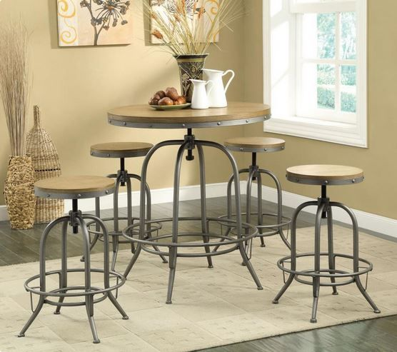 122097 Coaster Round Industrial Bar Table