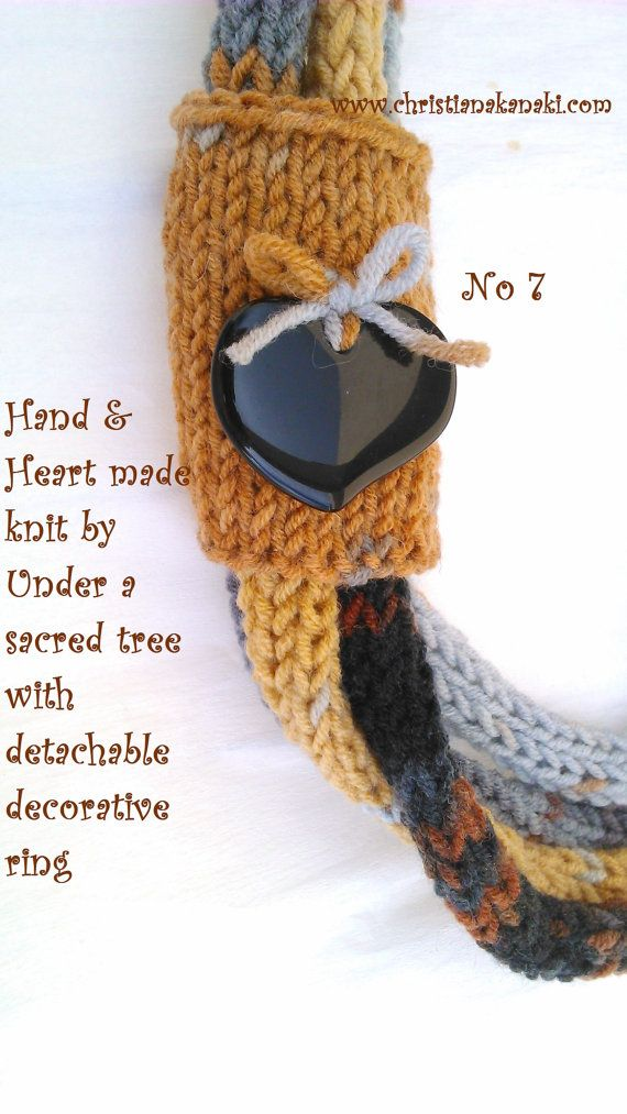 Hand & Heart knitted necklace with detachable decorative ring ~ Charged with Reiki ~ No 7 Black/Ochre/Greys
