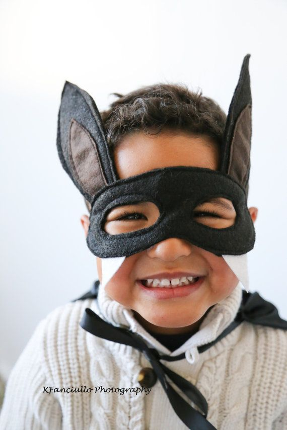 Children's Black Felt Bat Mask  Handmade Kid's by SeaminglySarah