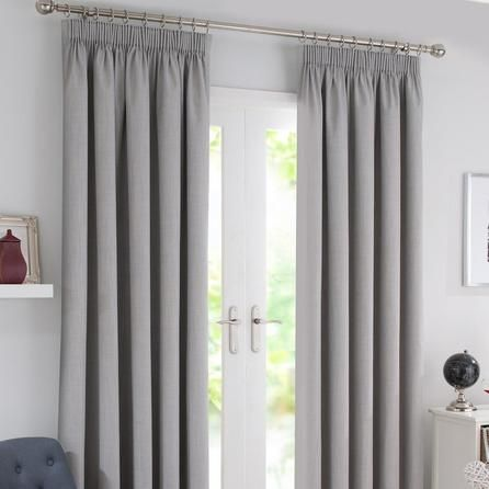 Waters And Noble Grey Solar Blackout Pencil Pleat Curtains | Dunelm