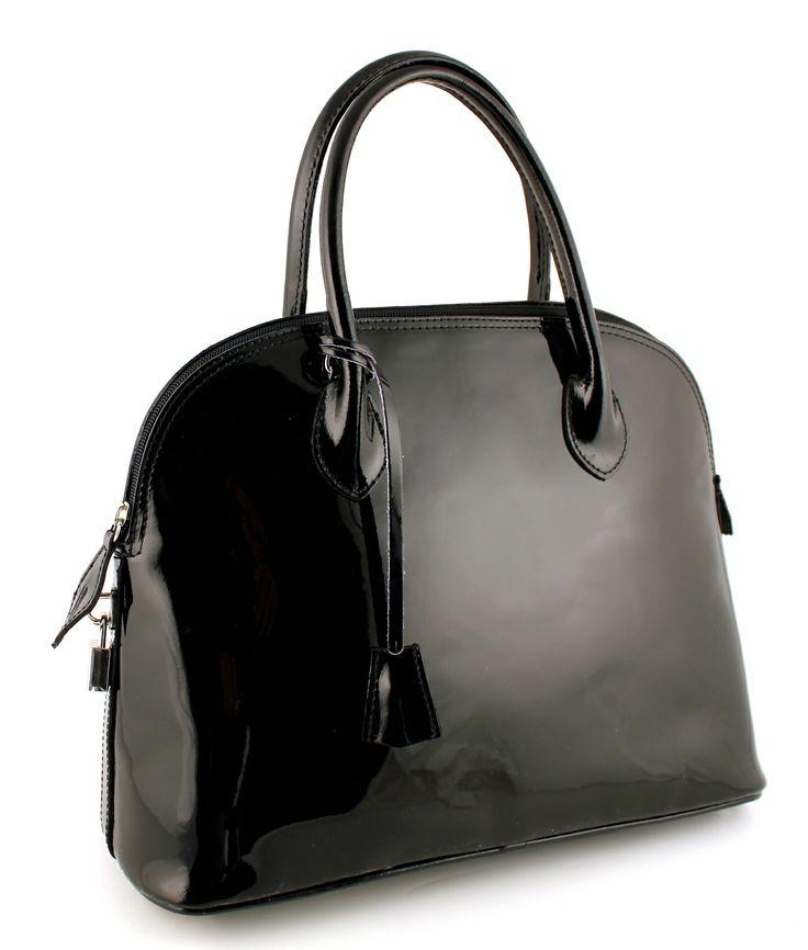 Assisi Nero. Stylish lacquer leather.
