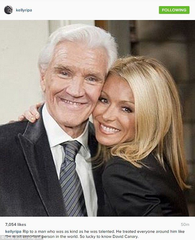 Rest in peace: Kelly Ripa has paid a touching tribute to her former All My Family co-star David Canary, whose family confirmed on Tuesday that he passed away aged 77