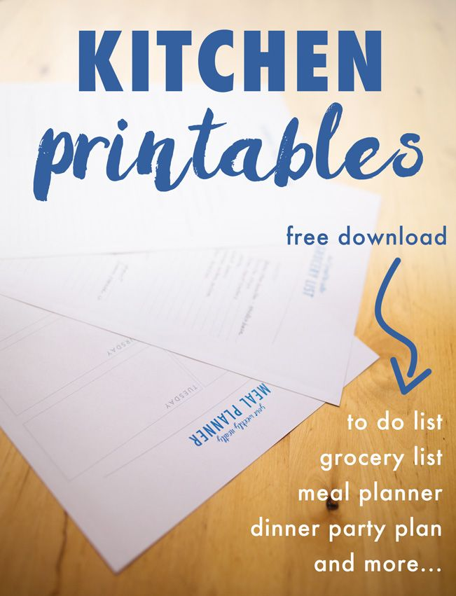 Grab your free kitchen organization printables including a to do list, grocery list, meal planner, dinner party plan, and more! Free download on A Butterful Mind.