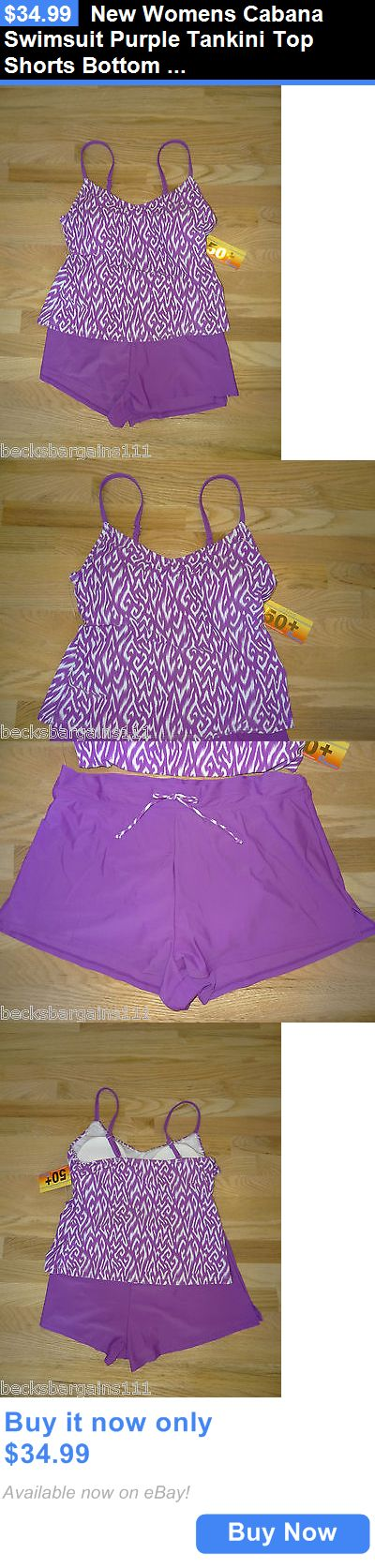 Women Swimwear: New Womens Cabana Swimsuit Purple Tankini Top Shorts Bottom Large 14 Nwt BUY IT NOW ONLY: $34.99